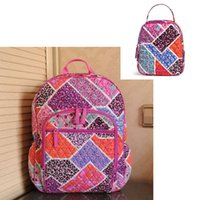 Wholesale women lunch bags - Cotton School Bag Campus Laptop Backpack School Bag with lunch bag