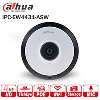 interface de microfone venda por atacado-Dahua IPC-EW4431-ASW 4MP Panorama POE WIFI Fisheye Câmera IP embutido MIC slot para cartão SD Interface de Alarme de Áudio DH-IPC-EW4431-ASW