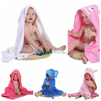 Wholesale children hooded bath towel - baby Kids Hooded Cloak Beach Towel Cotton Bathrobe Baby Spring Animal Hooded Bath Towel Children Cartoon Towel EEA180