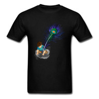 ingrosso disegni piuma di pavone-Wish You Were Here 2018 Design unico T-shirt da uomo Cartoon Peacock Feather Stampa manica corta Tops Nero T-shirt