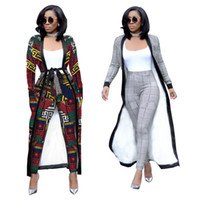 талии оптовых-2018 Autumn Winter 2 Piece Set Women Trench Coat High Waist Pants Matching Belt OL Plus Size Pocket Two Piece Outfits for Women