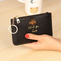 Wholesale Purse Key Rings - Explosions head layer leather European and American big ladies leather short coin purse zipper mini lychee ring key