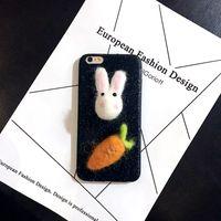 ingrosso accessori per cellulari di mora-Accessori per gusci mobili Velvet White Rabbit Doll Simulazione Accessori per carote Accessori fatti a mano per gioielli fatti a mano