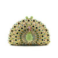 embreagens de animais em forma de animais venda por atacado-Noble Lady Embreagens de Cristal De Luxo Festa Bolsa de Pavão Forma de Embreagem de Casamento Das Mulheres Saco de Noite Ouro Verde de Prata Rosa