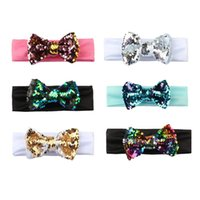 Wholesale flexible headbands - New Baby Kids Sequin Bling Bow Headband Girls Infant Head Band Fashion Flexible Hair Accessories Headwrap Hairbands