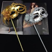 Wholesale ball masks sticks - Princess Woman Mask On Stick Sexy Venetian Costume Ball Maskes Sequin Lace Edge Lateral Flower Gold Silver Color Party Mask CCA10254