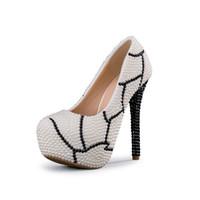 ingrosso pattini di cristallo neri di prom-2018 bianco fatto a mano con cristallo nero tacchi alti strass e bianco perla scarpe da sposa da sposa tacco alto festa di nozze scarpe da sposa