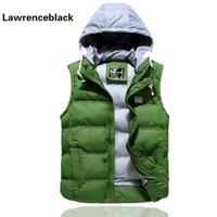 Wholesale Mens Waistcoat Green Vest - Casual Vests Mens Sleeveless Jacket Waistcoat Men Outerwears Hooded Man Coats Stylish Brand Autumn Winter Hood Warm Vest Men 629