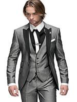 ingrosso migliori vestiti da partito-2018 Custom Made Fashion Grigio chiaro 3 pezzi Dinner Morning Party Abiti Smoking dello sposo Picco risvolto Migliori uomini Abiti da sposa Jacket + Pants + Vest + Tie