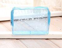 niedliche kosmetiktaschen großhandel-niedliche tragbare Kosmetiktasche transparente Waschtasche große Kapazität Wasserdichte doppelte Waschtasche