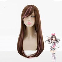 Wholesale straight pink cosplay wig for sale - Kizuna AI Cosplay Wig cm Long Straight Brown Mixed Pink Women Party Wigs