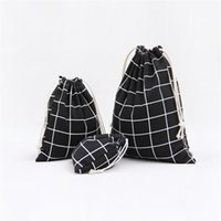 мешки для обуви оптовых-3pcs/set Simple grid coon linen fabric dust bag Drawstring Bags shoes bag Travel Accessories 3Colors