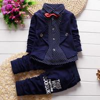 bebek erkek resmi setleri toptan satış-2 adet Erkek Bebek Giysileri Toddler Kıyafetler Bebek Smokin Resmi Takım Elbise Set Gömlek + Pantolon Bahar Sonbahar Çocuk Giyim bebek Erkek Giyim Seti