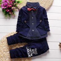 babyanzüge beige großhandel-2 stücke Babykleidung Kleinkind Outfits Säuglings Smoking Formelle Anzüge Set Shirt + Pants Frühling Herbst Kinder Kleidung Baby Jungen Kleidung Set