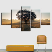 картины на природе оптовых-HD печать холст плакат рамки гостиная Home Decor 5 шт. высокие деревья лес природные картины стены искусства декорации картинки