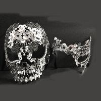 Wholesale metal skull masks for sale - Group buy Men Women Couple Silver Metal Full Face Metal Evil Skull Opera Venetian Laser Cut Masquerade Eye Masks