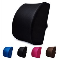 Wholesale Chair Cushion Supports - Mesh Lumbar Pillow Car Pillow Back Brace Support Chair Cushion Seat Waist Travel Memory Foam Pillow Cotton Office