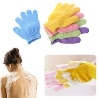 Wholesale wholesale nylon body scrubs - New 18*12cm Nylon Bath Shower Gloves 5 Colors Exfoliating Sponge Bath Skin Body Wash Massage Scrub