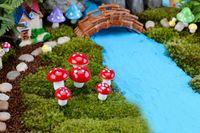 Wholesale miniature plastic plants resale online - Artificial colorful mini Mushroom fairy garden miniatures gnome moss terrarium decor plastic crafts bonsai home decor for DIY Zakka