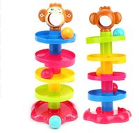 Wholesale Popular Puzzles - Popular Baby Toys Tower Puzzle Rolling Ball Bell Kids Toys Developmental Educational Toy Rolling Ball Rattles Play KKA3898