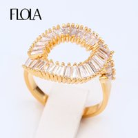 Wholesale Finger Promise Ring - whole saleFLOLA Open Valentine Present Fashion Spiral Rings Gold Pave AAA CZ Stone Fashion Round Circle Finger Ring Promise Jewelry rige88