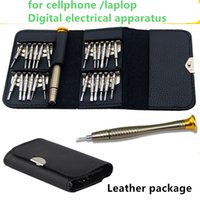 Wholesale one piece mobile - 25 piece per set in one hardware tool for mobile phone repair kit leather sheath household tool set 6625 Repairing Tools