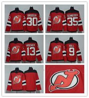 9d486f880 2017-2018 Season New Jersey Devils Jersey 9 Taylor Hall 13 Nico Hischier 30  Martin Brodeur 35 Cory Schneider Red Hockey Jerseys White Salute