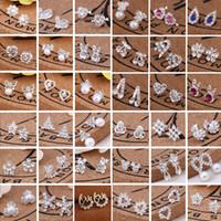 aretes nuevos al por mayor-venta caliente 45 estilos creativos de los pernos prisioneros cristalinos del oído de la cerveza del copo de nieve del rhinestone de la perla aretes nuevos pendientes de perlas