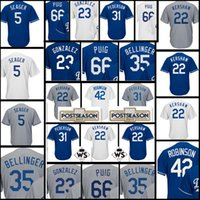 Wholesale Cheap Kershaw - Men's #22 Clayton Kershaw 35 Cody Bellinger 5 Corey Seager Jersey Cheap stitched Embroidery Baseball Jerseys Blue White Grey