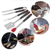 Wholesale barbecue tongs - Stainless Steel Barbecue Tong Brush Fork BBQ Grill Tool 4pcs Set Steak Fork Roasting Grill Tools Outdoor Gardgets OOA5041