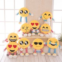 Wholesale Embroidered Sofa Fabrics - Hot 50CM Styles Soft Emoji Smiley Emoticon Round Cushion Pillow Sofa Stuffed Plush Toy Doll emoji Pillow Puppets toys T1I401