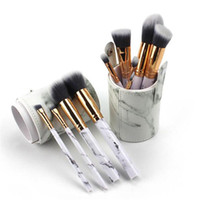 escova de maquiagem tubo venda por atacado-10 pcs Maquiagem Brushes Fundação Highlighter Eyeshadow Burshes Ferramenta Escovas Macio Set Estúdio Titular Tubo DHL frete grátis
