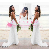 Wholesale may wedding dresses resale online - Katie May Mermaid Beach Lace Wedding Dresses Modest Fashion Spaghetti Backless Country Bohemian Fishtail Bridal Holiday Dress