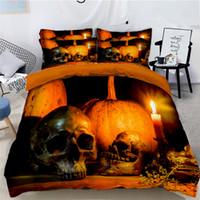 cama foto 3d venda por atacado-Halloween Abóbora Acolchoada 3d Impressão De Três Peças Taro Foto Impressão Digital Bedding Fronha