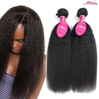12 cabelos lisos malaysianos venda por atacado-Mink Cabelo Virgem Brasileiro Kinky Cabelo Liso 3 Bundles 8A Yaki Peruano Indiano Malaio Yaki Em Linha Reta Cabelo Weave Extensão Brasileira