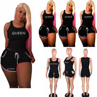 Wholesale yoga pants vest for sale - Group buy Summer Queen Letter Shorts Tracksuit Wommen outfit Sleeveless Vest top with drawstring Short pants Sportswear Gym Yoga suit GGA695