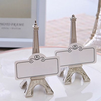 Wholesale eiffel tower place card holders - 100pcs Wedding favor Eiffel Tower Place Card Holder Wholesale free shipping