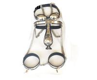 saflık kemeri sütyen kollukları toptan satış-Yeni Erkek Tamamen Ayarlanabilir T-tipi paslanmaz çelik bekaret kemeri Sutyen anal plug kateter Uyluk Manşet SM ÜRÜNLERI