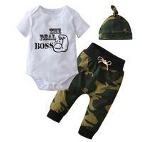 säuglingshüte für jungen großhandel-3 STÜCKE Sommer Neugeborenes Baby Jungen Mädchen Kleidung Outfits Nette Brief Print Strampler + Camouflage Hosen + Hut Infant Kleidung Set