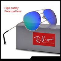 beige metall großhandel-New Fashion Pilot Polarisierte Sonnenbrille für Männer Frauen metallrahmen Spiegel polaroid Objektive fahrer Sonnenbrille mit braunen fällen und box