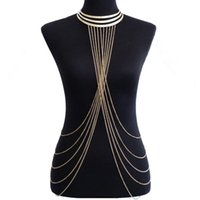 Wholesale body harness for women - Womens Sexy Fashion gold color Body Belly Waist Chain Bikini Beach Harness Necklace Tassel Body Chains Jewelry For Women
