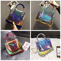 Wholesale wholesale jelly purses handbags for sale - Womens Laser Jelly Chain Bag Clear Transparent Small Tote Hologram Handbag Purse Laser Cross Body new style FFA323 COLORS