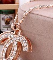 vêtements strass achat en gros de-Mode nouvelle lettre collier chaîne clavicule accessoires femme vêtements bijoux en cristal strass personnalité