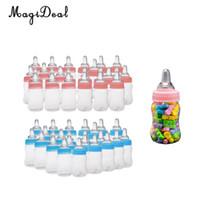 ingrosso favori di battesimo del bambino-MagiDeal 24 pz / lotto Bottiglie di latte Bottiglie di caramelle Battesimo battesimo Baby Shower Bomboniere regali rosa / blu