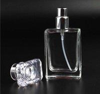 бутылки для розничной продажи оптовых-Розничная 30 мл площадь духи спрей стеклянная бутылка спрей бутылка многоразовые черный и прозрачный бутылка портативный путешествия подарок