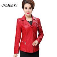 Wholesale korean leather jacket style - JALABERT 2017 Spring Autumn women Red slim Korean style PU leather jackets sweet sleeve zipper femme outwear coat