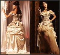 viktorianisches maskeradekleid großhandel-2019 neue ankunft champagner quinceanera kleider prinzessin hallo-low spitze handgemachte blume viktorianischen masquerade dress für 15 jahre quinceanera kleid