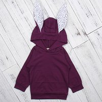 Wholesale Baby Coats Ears - Kids Hoodies Rabbit Ears Purple Hoodie Long Sleeve Spring Autumn Children's Boys Girls Unisex Baby Coats Outdoor Jackets Outfits 2-6T