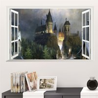 Wholesale Harry Potter Wall - Magic Harry Potter Poster 3D Window Hogwarts Decorative Wall Stickers Wizarding World School Wallpaper For Kids Bedroom Decal