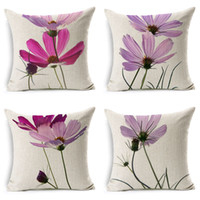 Wholesale Small Pink Sofa - wholesale High quality Small fresh pink flowers Cosmos wedding gift office Cushion cover Decorative home sofa car Pillow case